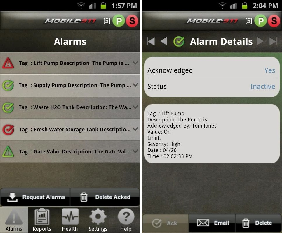 Industrial Realtime Alarm Notification